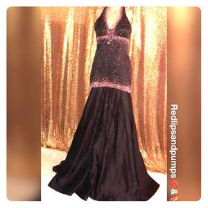 48cf99d2d47 ... Beautiful Black and Fuchsia Silhouette Dress ...